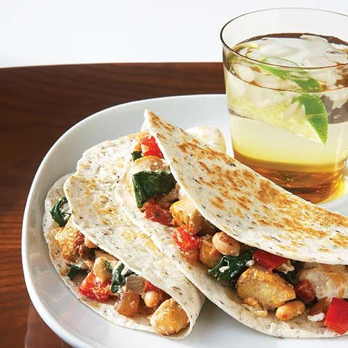 Chicken, Spinach & Ricotta Quesadillas  The zip in these hearty whole-grain covered feasts will fill you with health and goodness, while the protein and fiber content will satisfy and keep you hunger-pang free for hours.