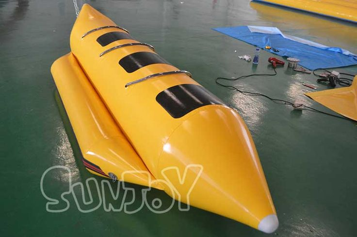3 person inflatable banana boat for sale, 12 feet long and 4 feet wide, more designs wholesale at sunjoy.