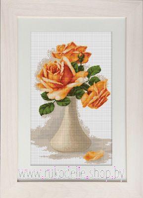Набор для вышивки крестом Luca-S Оранжевые розы в белой вазе В505