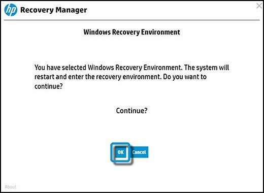 Windows Recovery Environment with OK selected