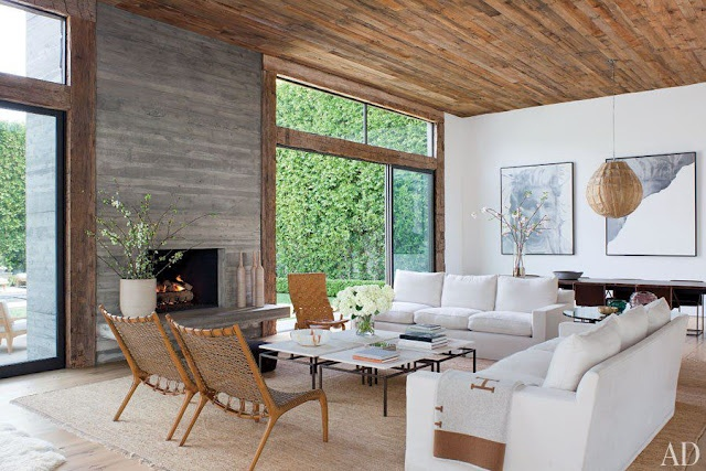 Minimalist living room with simple modern fireplace