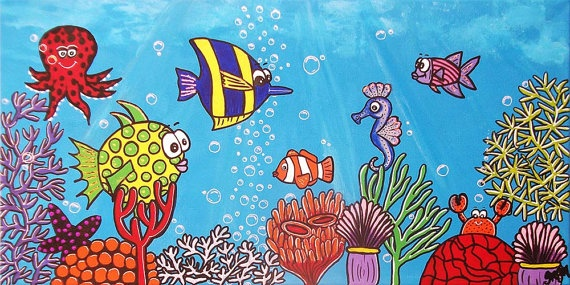 Custom Tropical Friendly Fish in the Fish by LollipopDesignsAU, $125.00
