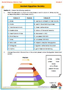 Grade 5 History - Test: Ancient Egyptian way of live