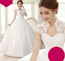 Longo vestido de Baile Vestidos de Casamento Com Rendas Apliques vestido de Noiva tamanho 2-16 Barato Vestido Feito Sob Medida Plus Size Precisa Extra taxas(China (Mainland))