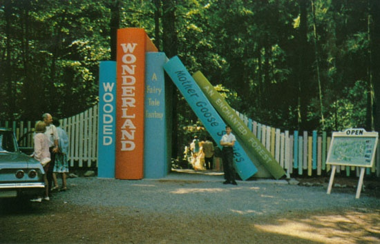 Wooded Wonderland, Beaver Lake Park, Victoria, 1960's gateway to fun..... just beyond the entrance there was a zip-line ride through the trees.