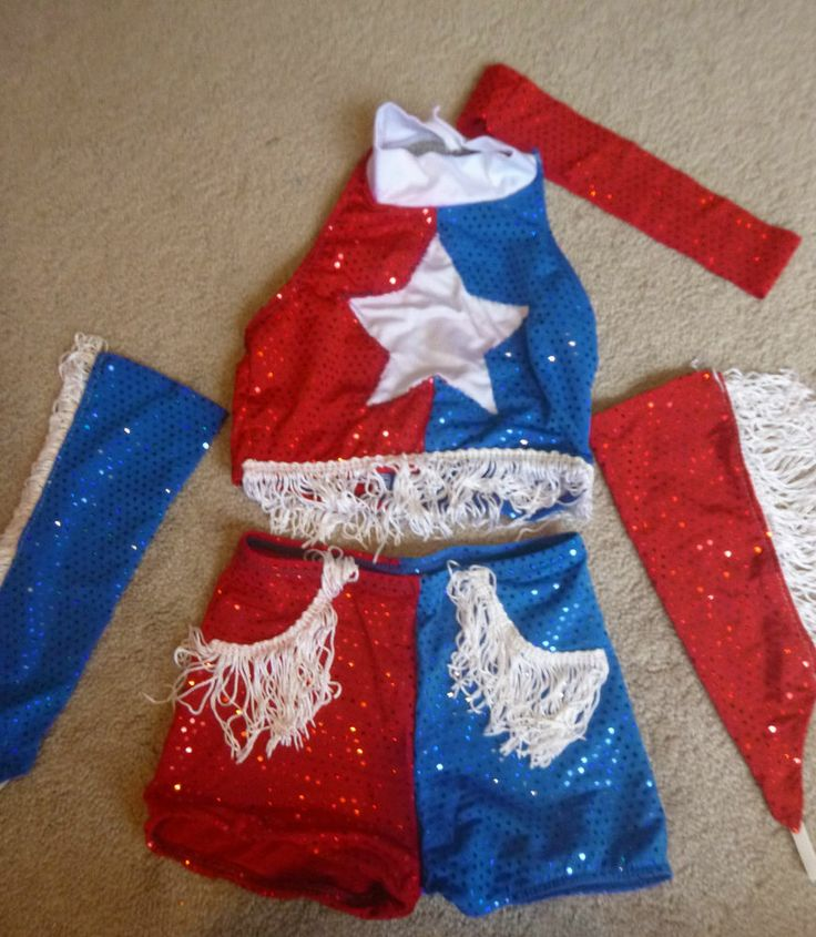 GIRLS GLITZ PAGEANT OUTFIT OF CHOICE OOC WESTERN RWB DANCE JULY 4TH