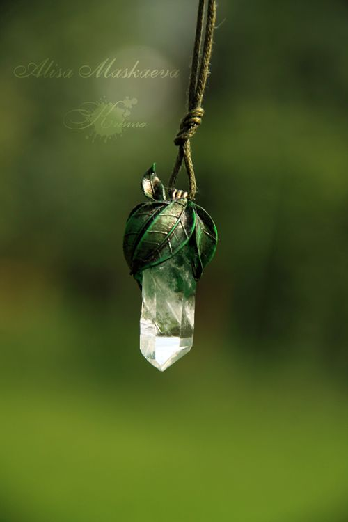 krinna-handmade:  Elven nature pendant. Polymer clay, quartz. Fully handmade.