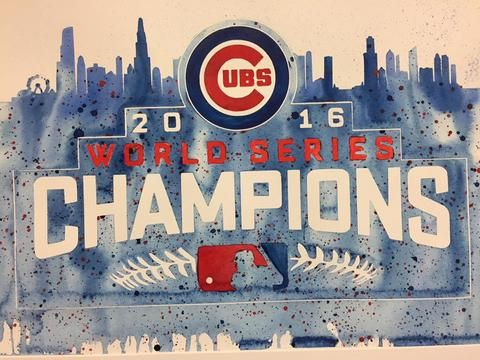 """Chicago Cubs 2016 World Series 12""""x16"""" Pre-Masked Watercolor Canvas"""