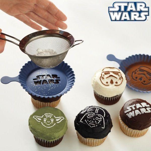 12.05.19 - Star Wars Cupcake Stencils.. I'm such a nerd, I want these in my kitchen.