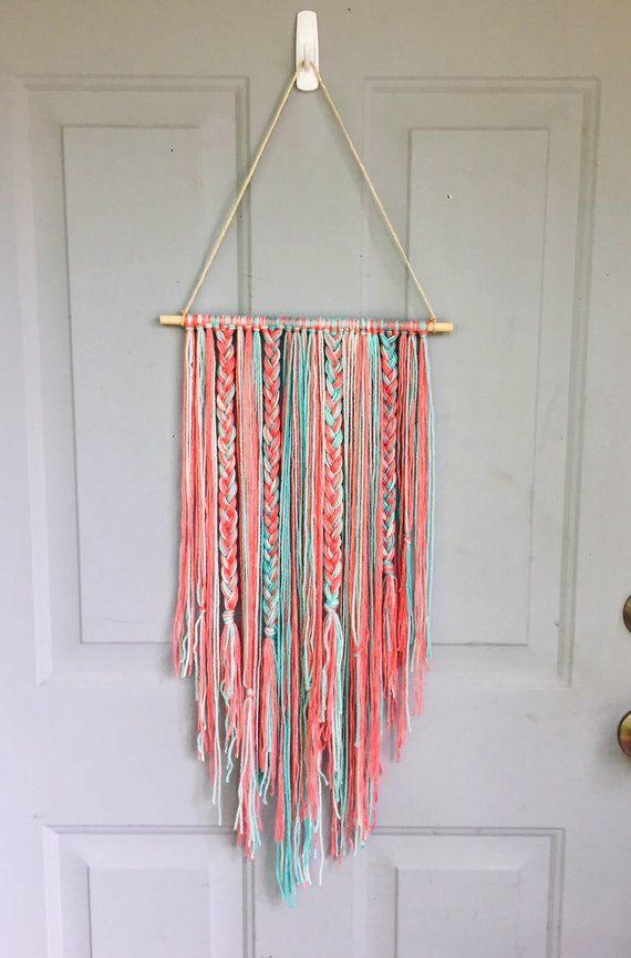 Boho Wall Hanging Bow Holder Yarn Wall Hanging Nursery