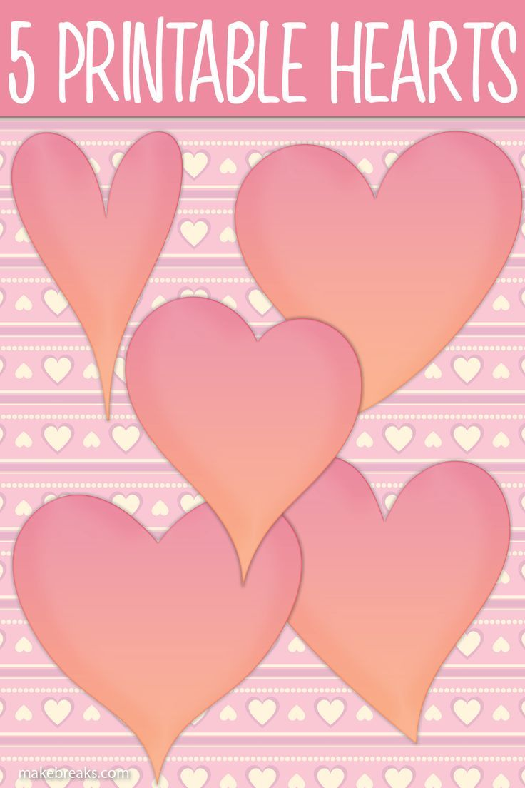 Five printable pink heart templates for garlands cards