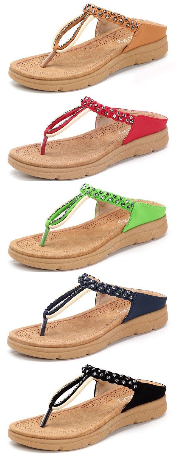 49% OFF! US$26.36 Rhinestone Flip Flops Soft Flat Clip Toe Beach Slippers. SHOP NOW!