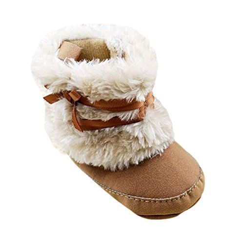 The design is very adorable and pretty The material is very soft, suitable for infant to wear in spring, autumn and winter Material: Cotton blend + Man-made Fleece Baby Infant Bowknot Boots Soft Crib Shoes Toddler Warm Fleece Prewalker 0-18M
