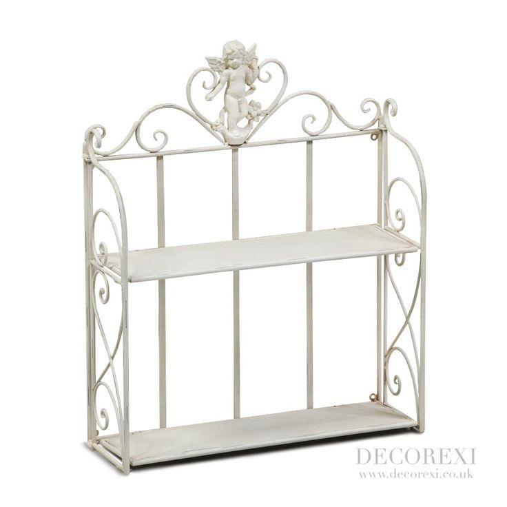 Antiqued White Cherub Wall Shelf Unit