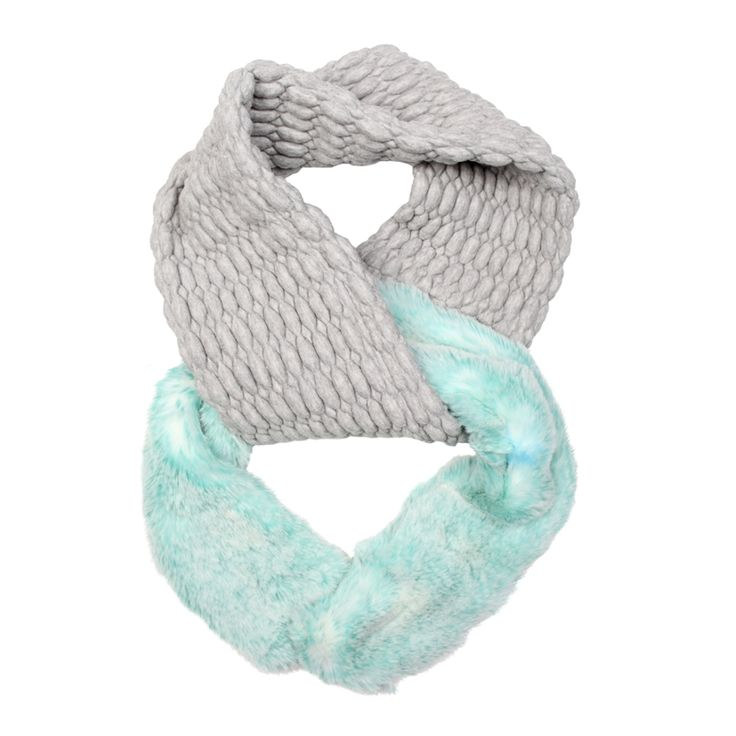 Sporty snood - faux fur and jersey. Mint green. Made in Great Britain.