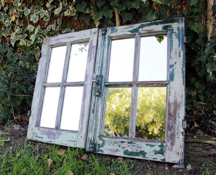 Espejos con ventanas recicladas decapado madera - Puertas de biombo ...