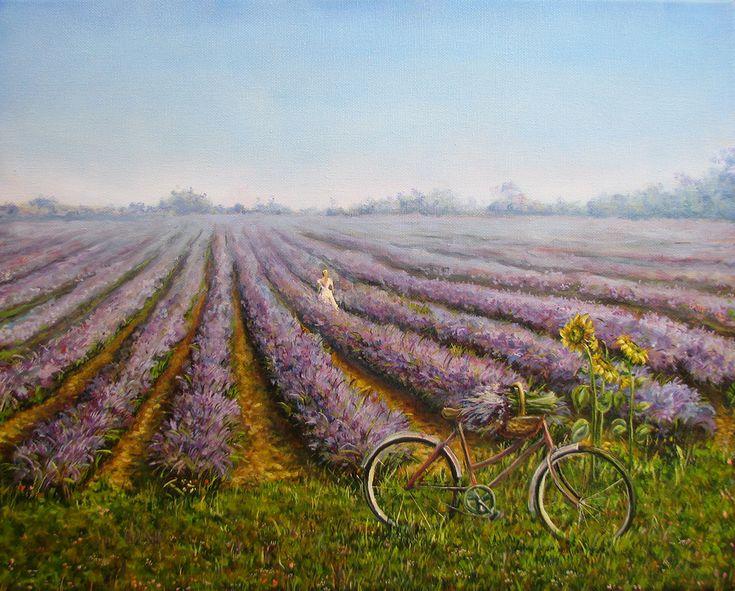 Картина маслом на холсте 40х50 «Лавандовое поле» | Andrew Pugach