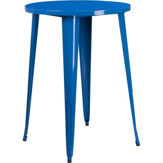 iHome Brimmes Round 30'' Blue Metal Bar Height Table for Indoor/Outdoor/Patio/Bar/Restaurant, Patio Furniture