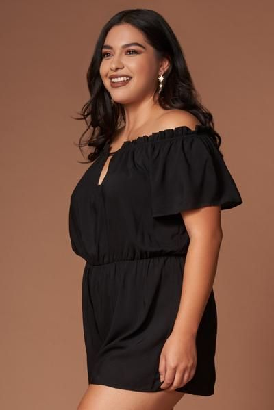 520eac8b63c This classic little black romper has an elasticized off-the-shoulder  ruffled neckline with keyhole cutout and short sleeves. Elasticized waist.