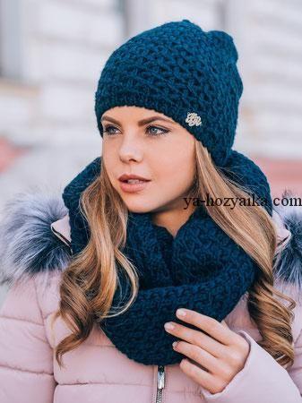 Зимний вязаный комплект для девушки спицами. Комплект шапка и снуд связать 9fefe8d018d46