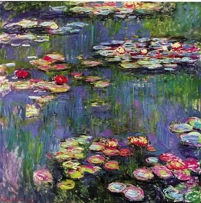 """""""Water Lilies"""" in 1916 by Claude Monet. Oil on canvas."""