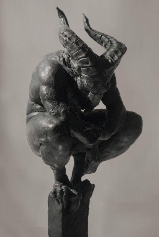 horned/clawed figure by (?) Lubomir Hij