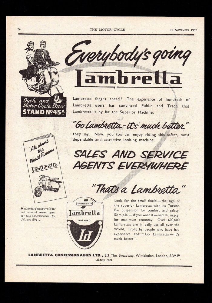 NOVEMBER 1953 LAMBRETTA SCOOTER LC125,LD125 MAGAZINE ADVERT.