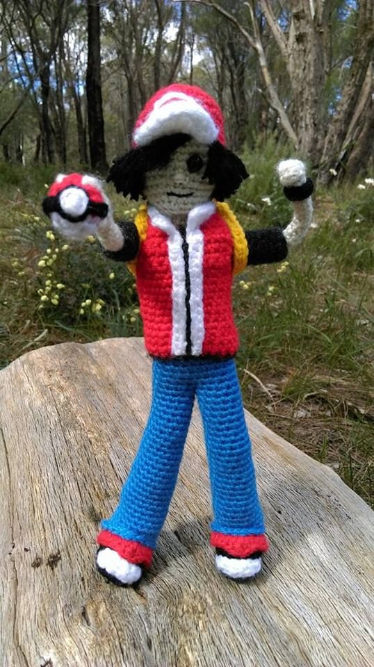 'Pokémon Trainer'...front.   No pattern for this one - I made him up as I went along.