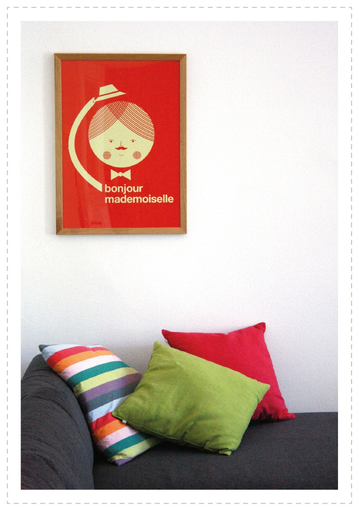 """bonjour, mon amour!""  http://feinswiebchen.blogspot.de/2013/06/salut.html    (poster: http://www.humanempireshop.com/Poster/Bonjour-Mademoiselle-Poster-50x70cm/)"
