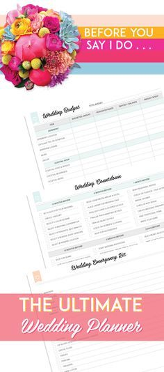 The Ultimate Wedding Planner.  This planner has everything you need without any additional fluff pages to keep you focused on what is important and organized. --I loved that I was able to print it instantly and my planner is seriously super cute.