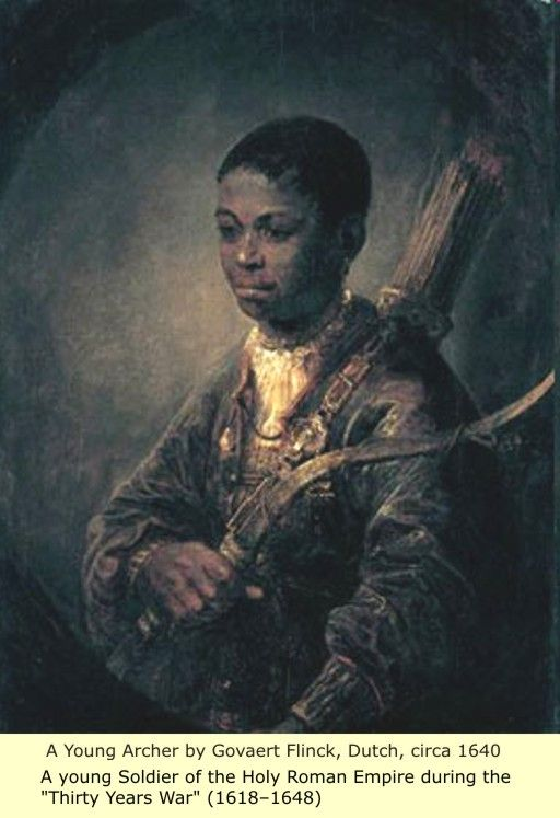 "A young Archer by Govaert Flinck, Dutch, circa 1640 A young soldier of the Holy Roman Empire during the ""Thirty Years War"" (1618-1648)"