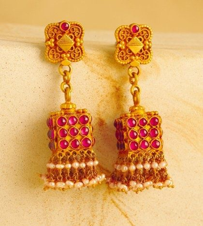 Square shaped jumkas studded with rubies and pearlsa