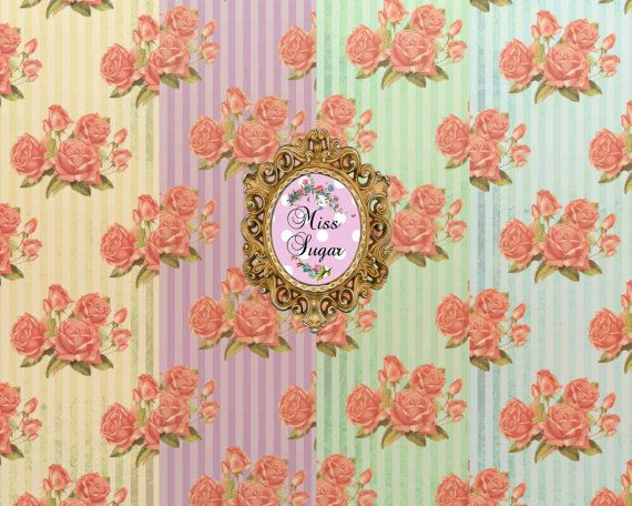 Stripes and roses  shabby Chic DIGITAL Paper by MissSugarshop