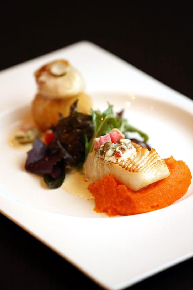SEARED HALIBUT BEURRE BLANC SAUCE   Seared halibut fish served atop fresh freen alfafa and carrot pure, complemented with beurre blanc sauce.   Rp 125,000net/portion   #halibut #fish #goodfood #Mezzanine #Restaurant #atriahotel