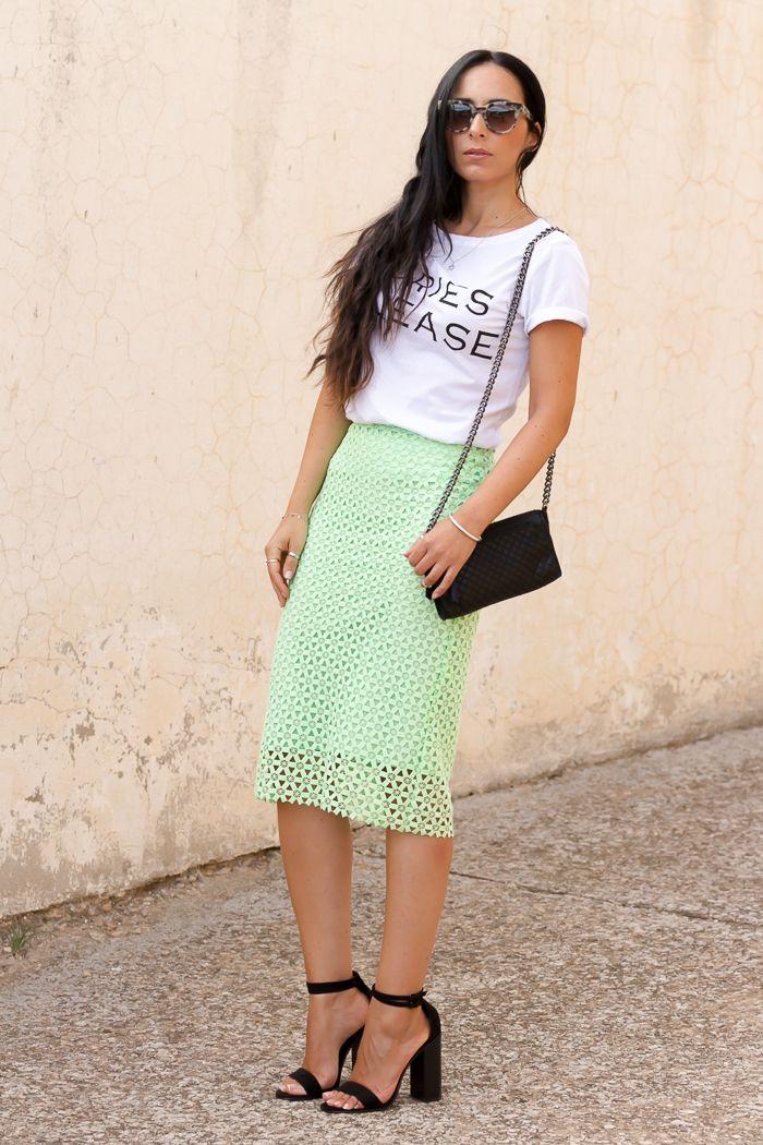 Green Guipure Skirt