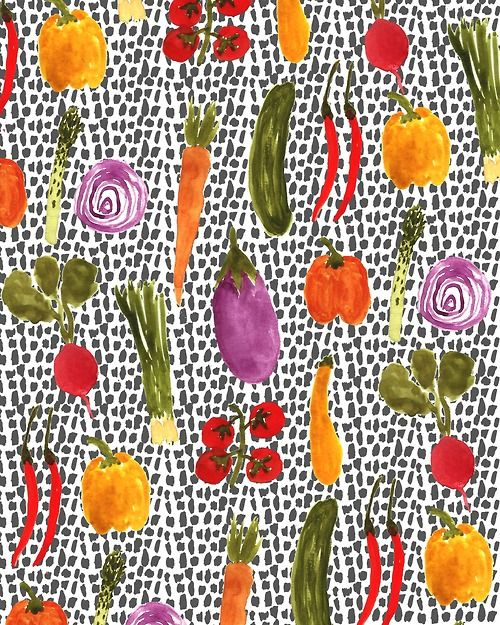 Colorful #Vegetables. #pattern #illustration