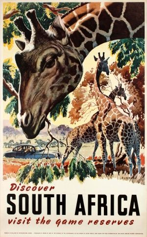 Discover South Africa Game Reserves 1950s - original vintage poster by Burrage listed on AntikBar.co.uk
