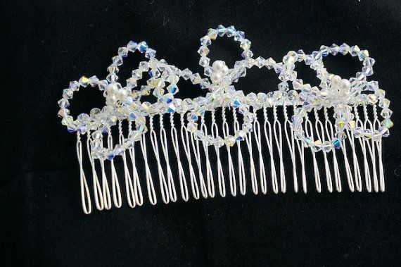Swarovski Crystal Comb Flower Hair Comb by Makewithlovecrafts, £25.00
