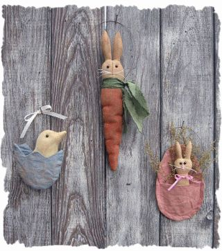 free images of christmas ornies to make | ... .com ::. PatternMart: Spring Time Ornies-- Carrot Bunny, Chick, Eggs