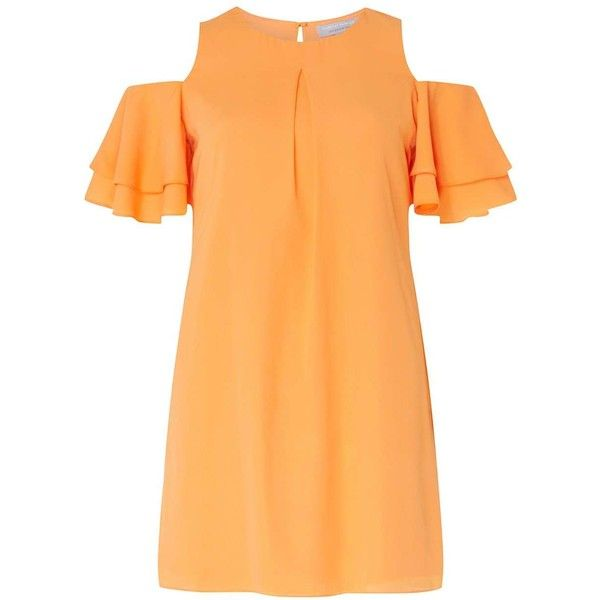 Dorothy Perkins Petite Orange Cold Shoulder Shift Dress (175 BRL) ❤ liked on Polyvore featuring dresses, orange, petite, sleeved dresses, beige shift dress, shift dress, open shoulder dress and cutout shoulder dresses