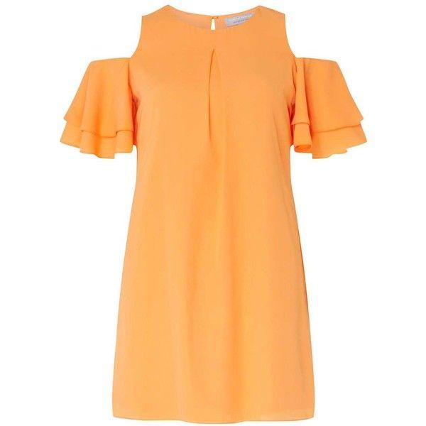 Dorothy Perkins Petite Orange Cold Shoulder Shift Dress (175 BRL) ❤ liked on Polyvore featuring dresses, orange, petite, sleeved dresses, beige shift dress, shift dress, open shoulder dress and cutout shoulder dresses