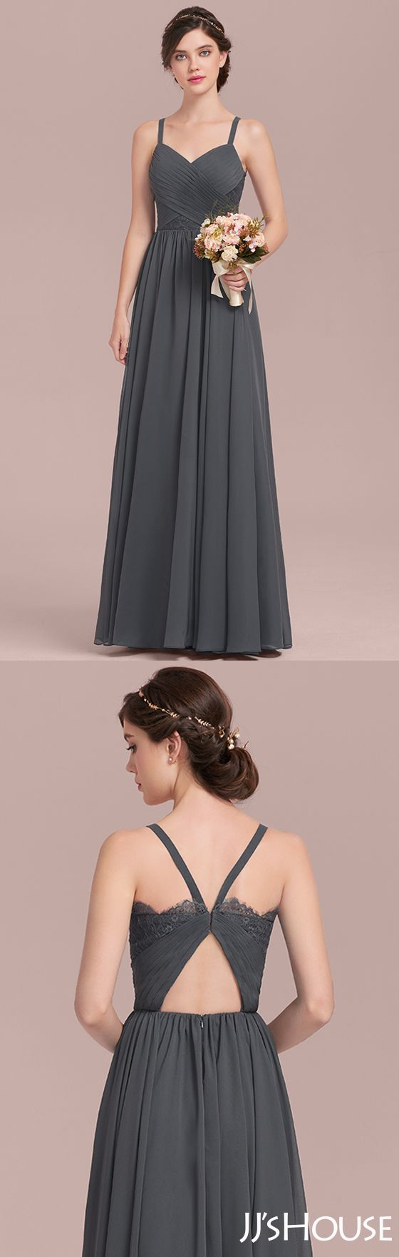 Classic color and eye-catching back design made this bridesmaid dress attractive! #JJsHouse #Bridesmaid