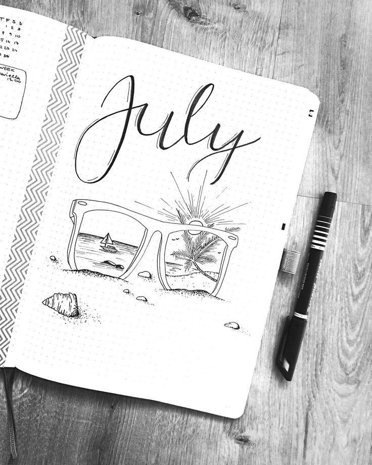 Juli und Sommer sind endlich da – wer hat ein ähnliches Thema? #bulletjournal #bujo #bujolove #bulletjournaling