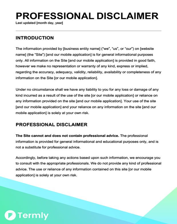 Sample Disclaimer Template Examples Free Download Policy