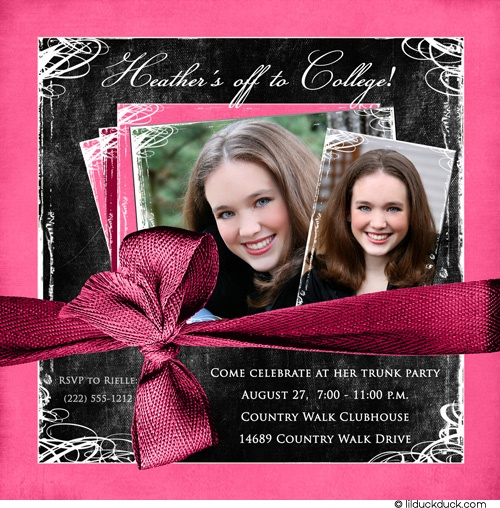 Image detail for -Square Photo Trunk Party Invitation - Send Off Woman College