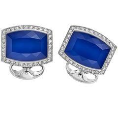Deakin & Francis blue Barrel Shape White Sapphire pave Sterling Silver cufflinks