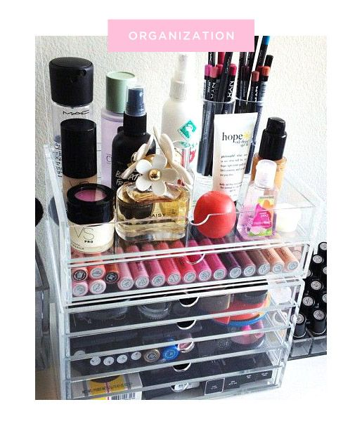 Transparent Organization-Acrylic storage containers keep things neat, but allow you to see all of your beauty products.