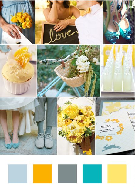 apartment inspiration piece:  from wedding color schemes... ill use it in the apt :)    Grey linens, yellow floral and teal stationery. Maybe teal napkins?