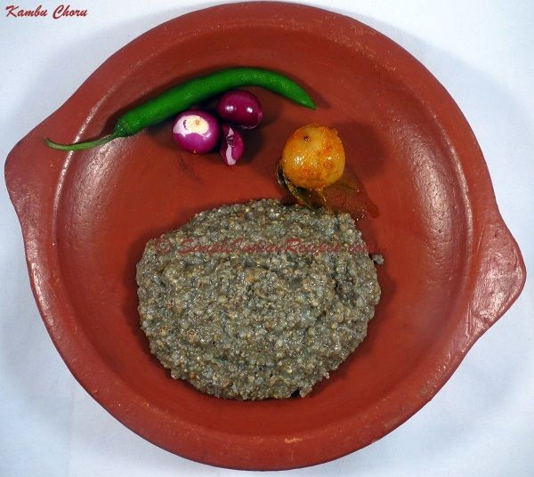 Kambam Choru / Kambu Sadam / Bajra Baath / Boiled Pearl Millet:   A healthy dish made with pearl millet, otherwise called as Bajra or Kambu in india . Nowadays millets are getting popular because of their many health benefits. Kambu Choru is a traditional dish made in southern part of India especially in Tamil Nadu. Enjoy this dish of our ancestors along with its health benefits. The recipe for Kambu Choru is @ http://simpleindianrecipes.com/Home/Boiled-Pearl-Millet.aspx.