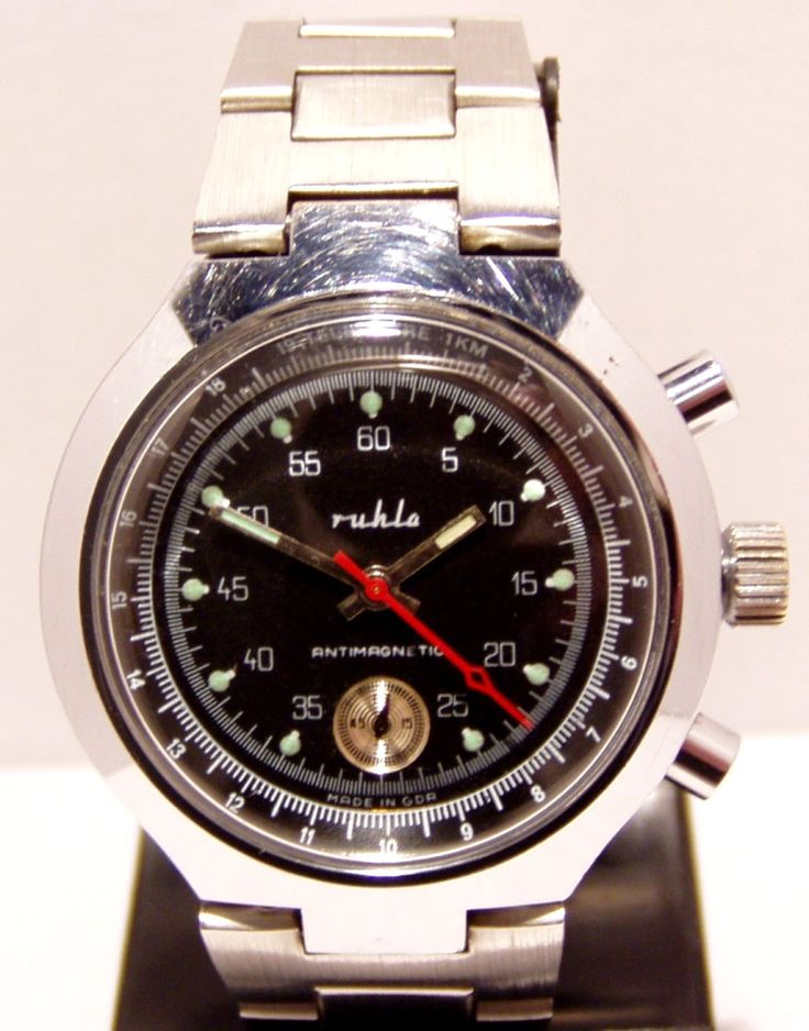 Ruhla Chronograph Chromed Case Watch Caliber 24-35 | Ostalgie-Ruhla Watches of the GDR